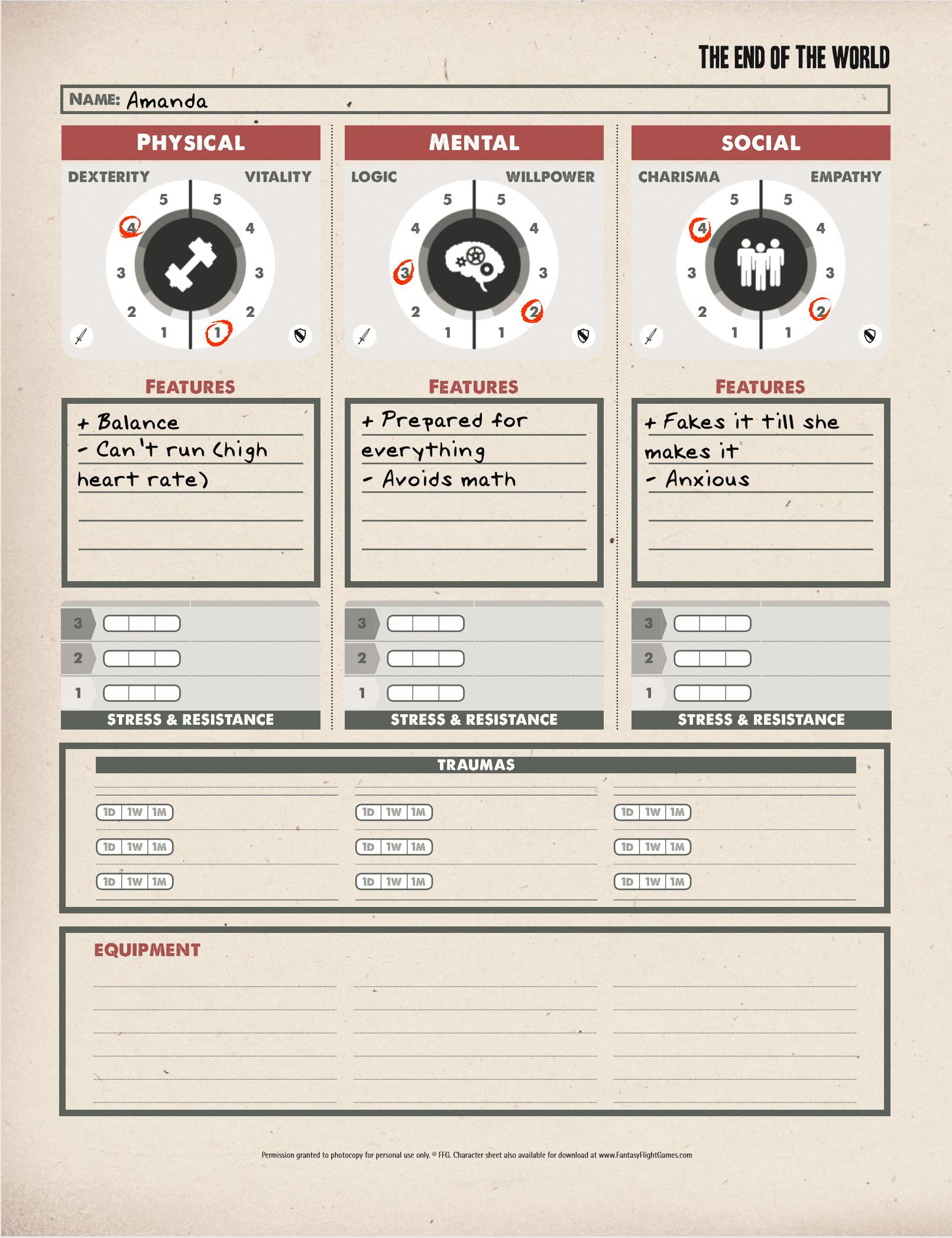 Character Sheet - Amanda