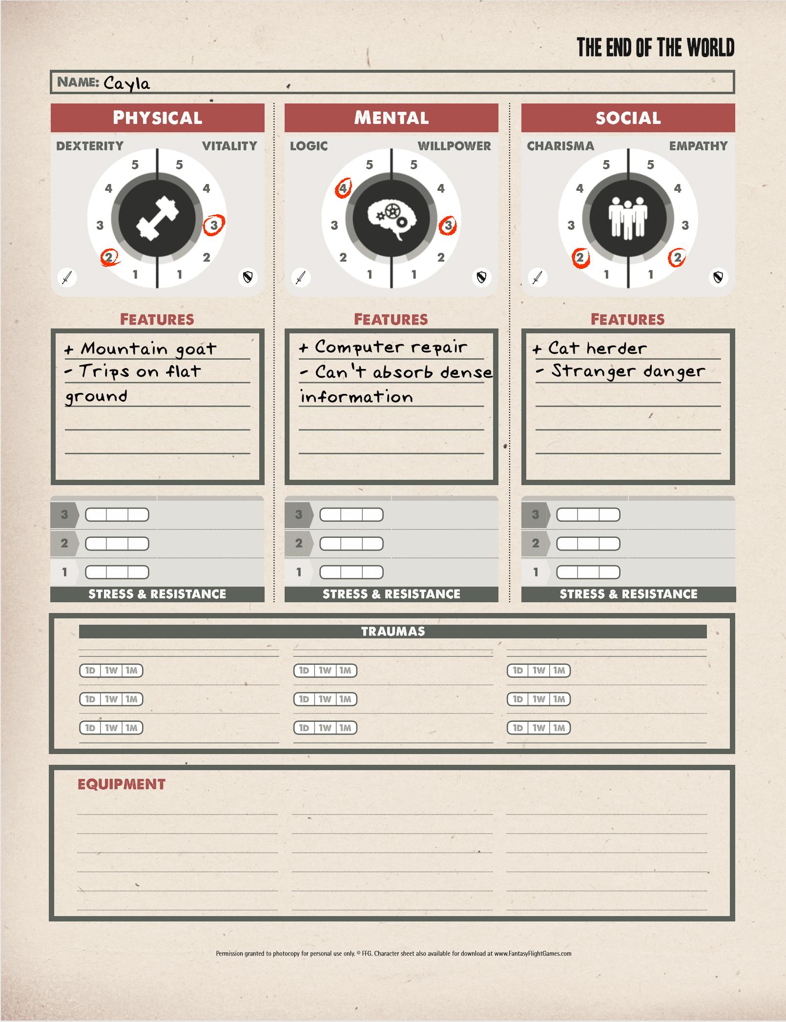 Character Sheet - Cayla