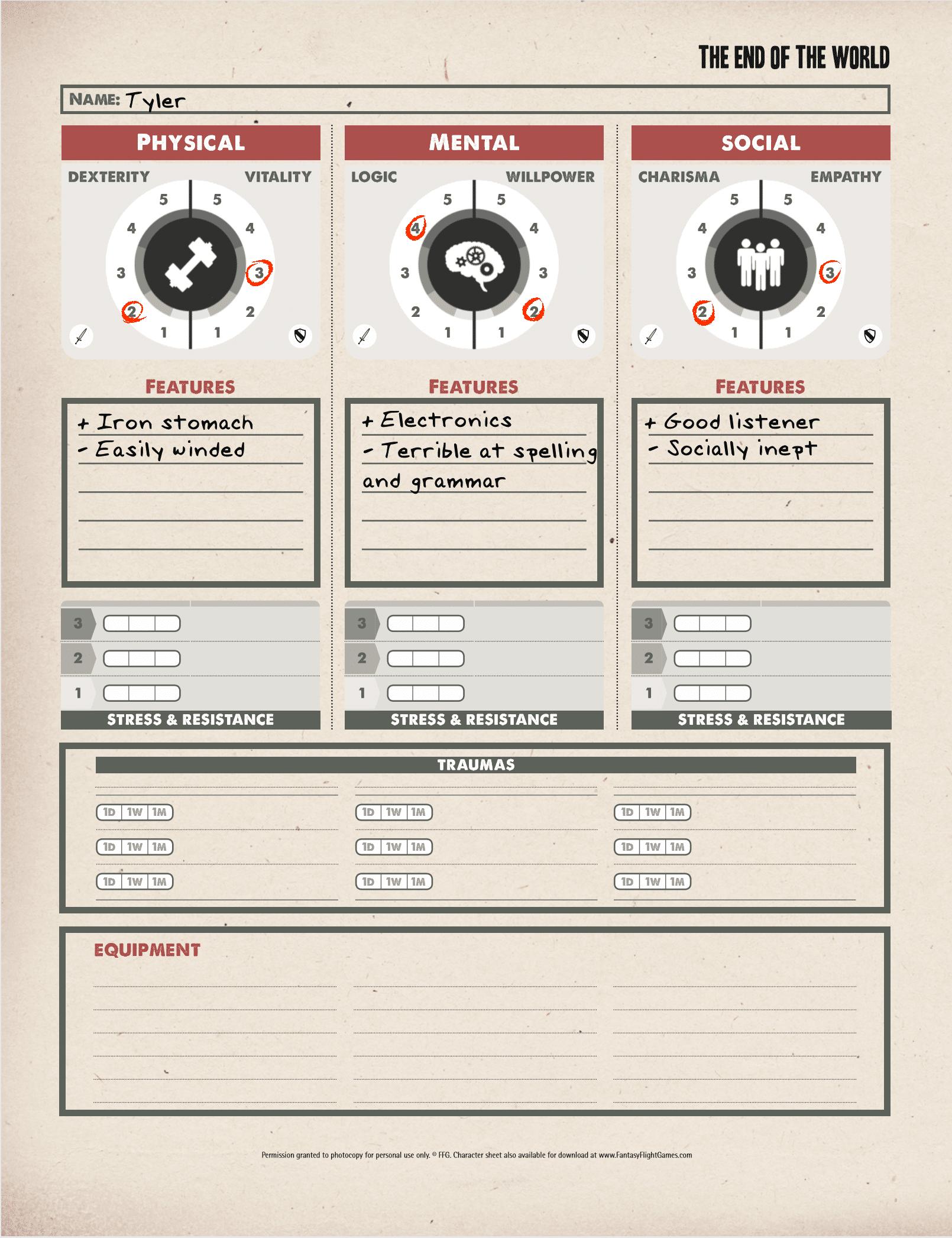 Character Sheet - Tyler